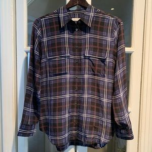 Equipment silk long sleeve plaid blouse.Size Small